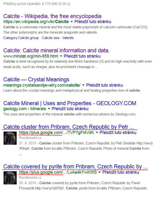 calcite google serp