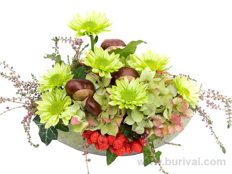 Produktová fotografie podzimního aranžmá z květin a plodů na bílém pozadí